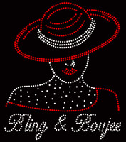 Bling & Boujee Afro Girl with red hat Rhinestone Transfer