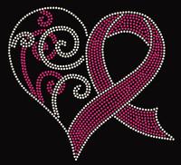 (Fuchsia) Heart ribbon Cancer Awareness Rhinestone Transfer