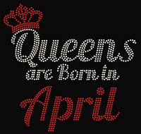 (Text) Queens are born in April (Red) Rhinestone Transfer