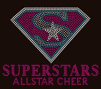 "Superstars Allstar Cheer (Diamond shape) 9""x7.3""- Custom Order Rhinestone transfer"