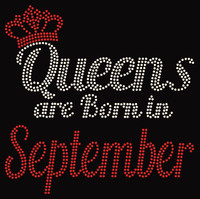 (Text) Queens are born in September (Red) Rhinestone Transfer