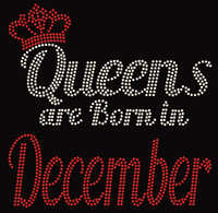 (Text) Queens are born in December (Red) Rhinestone Transfer