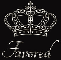 """Large Crown with Favored text (9""""x9"""") Rhinestone Transfer"""