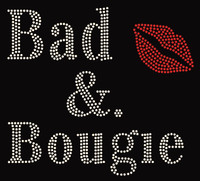 Bad & Bougie with Red Lip Rhinestone Transfer