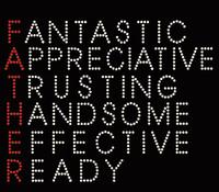 Father Words Appreciative Trusting Handsome Effective Ready Rhinestone Transfer