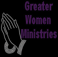 Greater Women Minister with Praying Hands custom Rhinestone Transfer