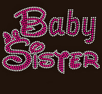 Baby Sister Text Rhinestone Transfer