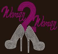(Fuchsia) Woman 2 Woman Heels Woman to Woman Rhinestone transfer