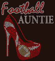Football Auntie Heel Rhinestone Transfer