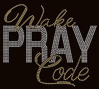 Wake Pray Code Bold (Golden/clear) Rhinestone Transfer