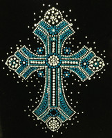 Cross Ceramic Spray Blue Religious Rhinestone transfer iron on