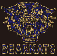 Bearkats with Bear Face (Golden-Blue) - Custom Rhinestone transfer