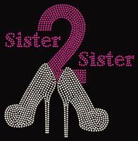 Sister2Sister Heels (Bold) Sister to sister Rhinestone transfer