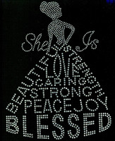 She is Blessed Dress lady (all clear) Rhinestone Transfer