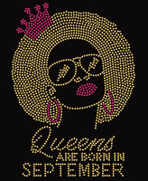 Lady Queens are born in September Rhinestone Transfer