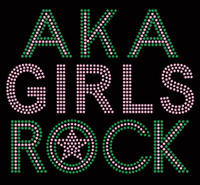AKA Girls Rock (Text) (Green Pink) Rhinestone Transfer