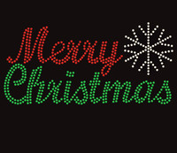 Merry Christmas Rhinestone Transfer Iron on