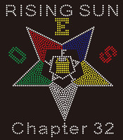 OES Star Rising Sun Text - Custom Order Rhinestone transfer