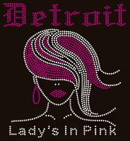 Detroit Ladies in Pink (Straight hair girl) - Custom Order Rhinestone Transfer