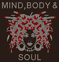 Mind Body & Soul Afro girl Rhinestone Transfer