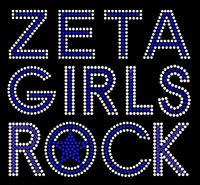 Zeta Girls Rock (Text) Custom Order Rhinestone Transfer