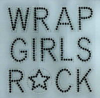 Wrap Girls Rock (Black text clear outline) Text Afro Rhinestone Transfer