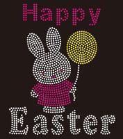 Happy Easter Bunny Rhinestone Transfer Iron on