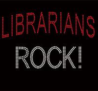 Librarian Rocks Text Rhinestone Transfer