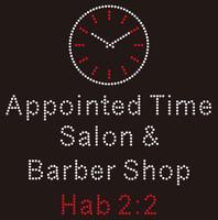 Clock Appointed Time Salon Custom Rhinestone Transfer