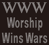 Worship Wins War (WWW) Rhinestone Transfer