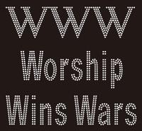 Worship Wins War (WWW) Rhinestone Transfer