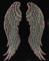 "Large Angel wing (Pink Silver) Rhinestone Transfer 9.5""(W) x 13.3""(H)"