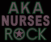 AKA Nurses Rock Custom Rhinestone Transfer