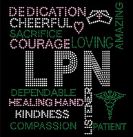 LPN Certified Assistant Nurse Words Rhinestone transfer