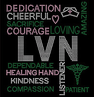 LVN Certified Assistant Nurse Words Rhinestone transfer