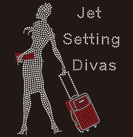 Jet Setting Divas-Hand Carry Lady - custom order Rhinestone Transfer