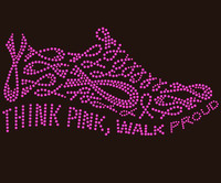 Think Pink Walk Proud Ribbon Shoe (FUCHSIA) Rhinestone Transfer