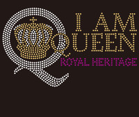 I am Queen Q with Crown - Custom Rhinestone Transfer