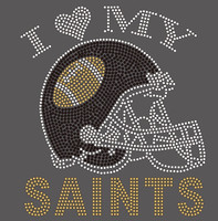 I Love my Saints Helmet Football Rhinestone Transfer