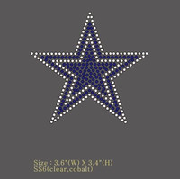 "(Set of 2) (New) Blue Star (small) 3.6"" Rhinestone Transfer"
