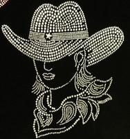 CowGirl with Hat Clear Rhinestone Transfer (Western)