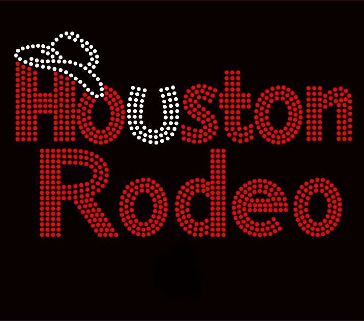 Houston Rodeo Red Rhinestone Transfer Iron On Texas