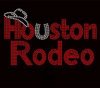Houston Rodeo Red Rhinestone Transfer Iron On
