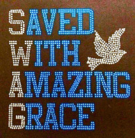 Saved with amazing Grace Blue Religious Rhinestone Transfer