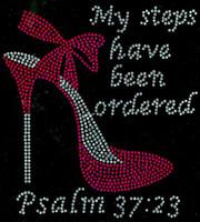 "(Fuchsia) My Steps have been ordered Heel Stiletto Psalm 37:23 Size 8.1""x 8.9"" Rhinestone Transfer"