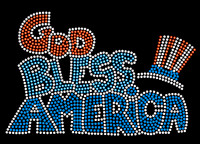 God bless America Rhinestone Transfer Iron on