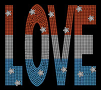 USA Love Text 4th of July Rhinestone Transfer Iron on