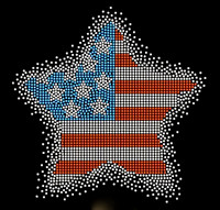 USA Star Spray 4th of july Rhinestone Transfer Iron on