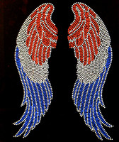USA Wings 4th of july Rhinestone Transfer Iron on