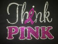 Think Pink (FUCHSIA Hot Pink) Rhinestone Transfer